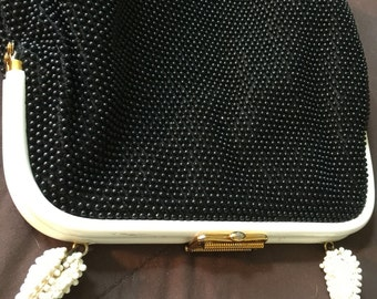 Vintage Beaded Purse Bag Black and White