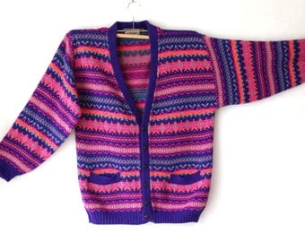Vintage Striped Cardigan Sweater Made in Italy Plus Size