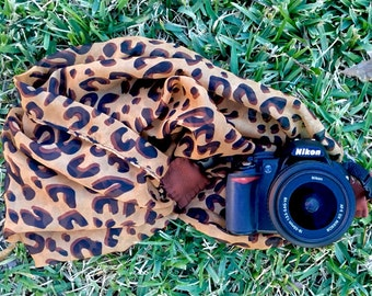leopard print scarf camera strap with leather ends | for Nikon, Canon, and other DSLR