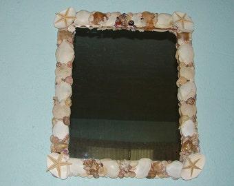 "Sea shell Mirror beach decor ocean decor home decor nautical decor seashell hand crafted hand made seashell art seashells 20"" x 24"""