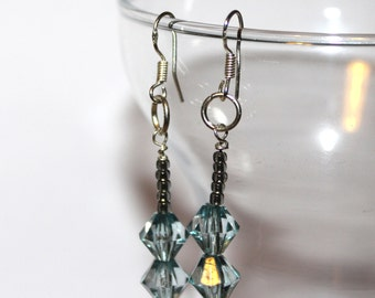 Bicone Beaded Earrings - Blue/Black - Comes with Gift Bag