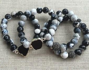 B&W Beaded Stack Bracelets