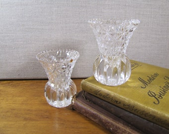 Pressed Glass Toothpick Holders - Small Vases - Flared Top - Bulb Bottom - Set of Two (2)