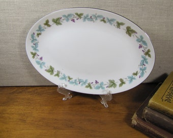 Vintage Fine China - Small Platter - Blue and Green Leaves - Purple Berries - Platinum Accent