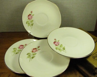 Large Saucers - Pink Rose Buds - Set of Four (4)
