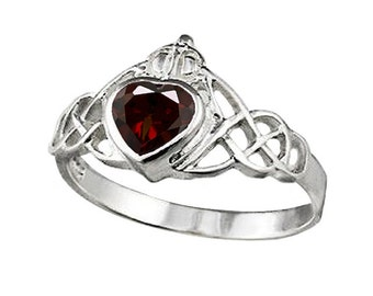 Sterling Silver Claddagh Ring with 5mm Genuine Garnet (R397-G)