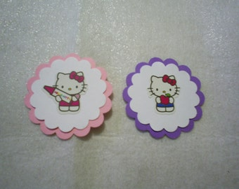 """30 Hello Kitty Cupcake Toppers in Pink, White and Lilac on 6"""" Lollipop Sticks"""