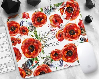 Mouse Pad Flower Mousepad Quote Live Love Dance Mouse Mat MousePad Coworker Gift Mouse Mat Round Mousemat Mousepad Modern Desk Accessories