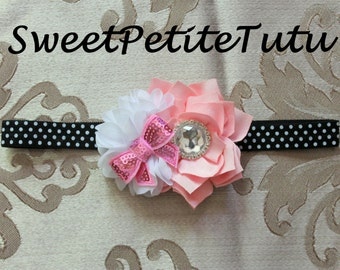 Black Pink and White headband, with Bejeweled and sequin bow centers, Flower girl headband, Baby headband, Preemie to adult