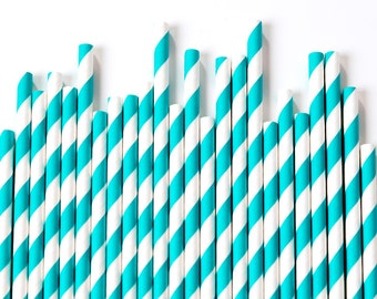 Aqua Striped Paper Straws