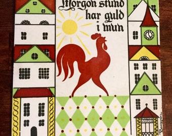 Vintage Berggren Swedish Rooster Tile Trivet