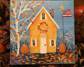 Autumn Crisp-Original Painting 4x4 Mini Canvas