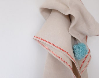 Hemp Linen Poncho Towel FREE SHIPPING, Organic Bath Poncho For Kids, Red Embroidery, Blue Pompom