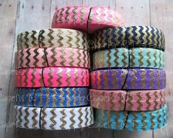 "5/8"" Gold Foil Chevron Fold Over Elastic FOE- White, Pink, Hot Pink, Neon Pink, Turquoise, Royal Blue, Navy, Aqua, Cream, Wild Rose, Purple"