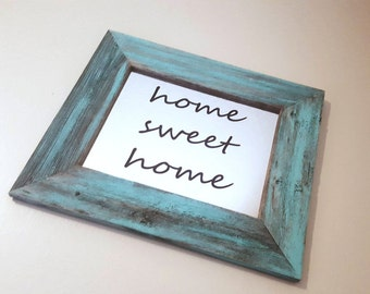 Home Sweet Home Sign | Home Sweet Home Mirror | Framed Mirror | Rustic Decor | Reclaimed Wood Mirror | Entryway Decor | Farmhouse Decor