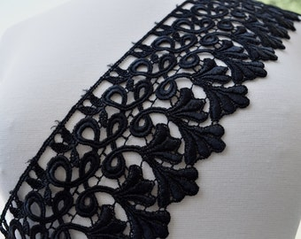 "Pompeia Black Venise Lace with Fanciful Swirl Design and Elegant Feather Patterns 4.25"" x 36"""