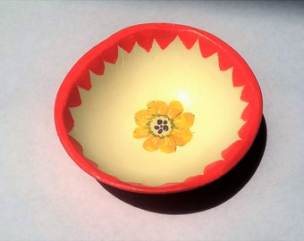 Jewelry Dish, Ring Dish, Clay Dish, Catchall, Coin Tray, Organizer, Unique Gift, Hand Painted Bowl
