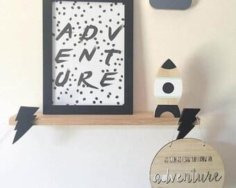 Monochrome Adventure, Room Print, Childrens Room, Room Decor, A4 Print