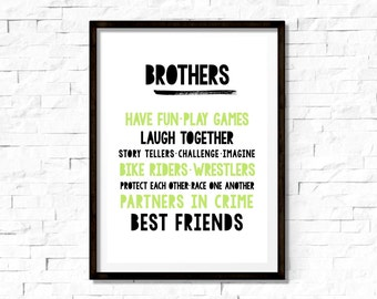 SALE // Brothers, Room Print, A4, Quote Print. Room Decor
