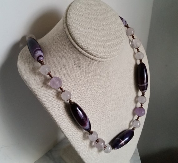 "PLUM, CRYSTAL and COPPER 25"" Necklace with Violet-Purple-White Banded Agate, Faceted Round Clear + Milky Quartz, Copper Bead Caps and Clasp."