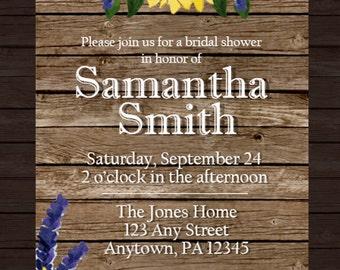 Sunflowers & Lavender Shower Invitations