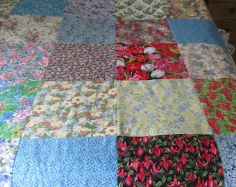 Floral Quilt Top Multi colored