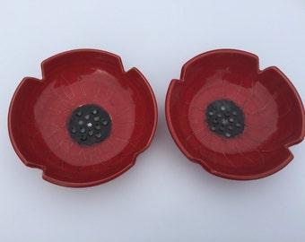 2 red ceramic poppy bowls