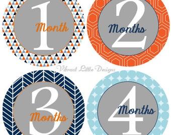 Baby Boy Monthly Stickers, Milestone Stickers, Month Stickers, Baby Month Stickers, Baby Stickers  #35