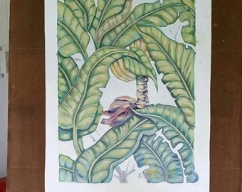 Oil painting unstretched canvas after Martinique wallpaper /Banana flower and leaves..