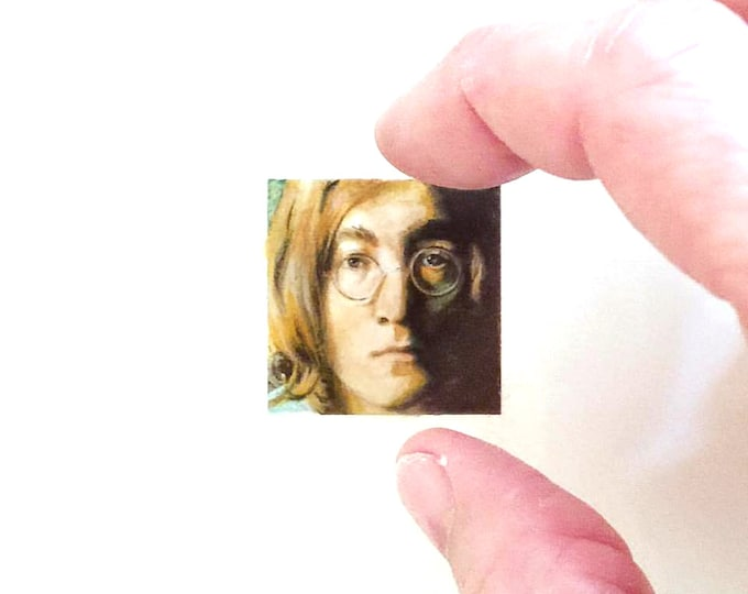 """Print of miniature painting of John Lennon  1 1/4"""" x 1 1/4"""" print of original John Lennon painting on 5"""" square german etching paper"""