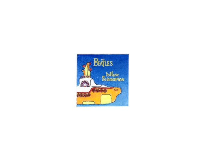"""Print of miniature painting of the Yellow Submarine.  1 1/4"""" x 1 1/4"""" print of original Beatles painting on 5"""" square german etching paper"""