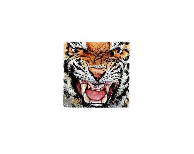 """LAST ONE Print of miniature painting of a Tiger. 1 1/4"""" x 1 1/4"""" print of original a Tiger painting on 5"""" square german etching paper"""