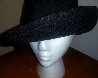 Vintage Black Hat  with Black Ribbon Band