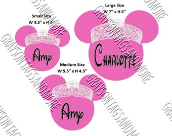 Personalized Pink Princess Head Disney Cruise Door Magnet (3 Size to choose from)