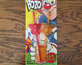 Vintage 1988 NOS Pack of Two Bozo The Clown Fun Straws-New Sealed