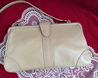 On Sale, Palizzio Handbag, Desiner Purse, Vintage Beige Leather Bag, Very New York