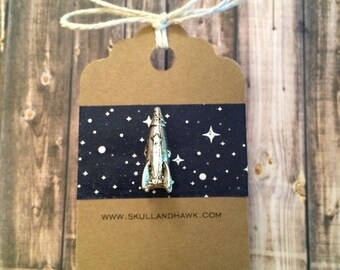 Rocket Ship Lapel Pin / Tie Tack - Antique Silver Tone - Spaceship