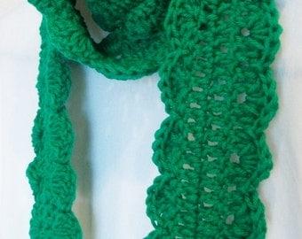 Crochet Skinny Scarf Extra Long, Ready to Ship, Green, Handmade