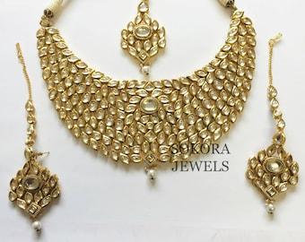 Genuine Kundan Hand Crafted Gold Necklace set