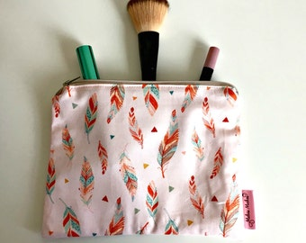 Feather Makeup Pouch, Cosmetic Bag, Handmade Zip Pouch - Pink Feathers, Rainbow Spots. 100% cotton, Fully Lined, Toiletry Bag, Gift for Her