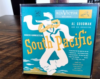 Vintage South Pacific Al Goodman Orchestra, Set of 4 Records 45 RPM, Rodgers Hammerstein RCA Victor Records