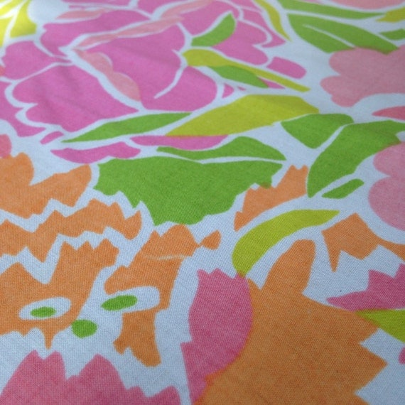 Lovely Lilly Pulitzer Style Large Scale Floral Fabric From