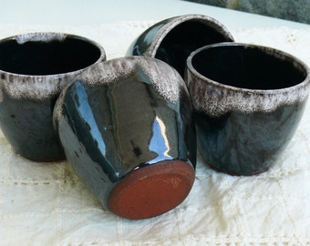 Vintage Bulgarien Ceramic Cups, Pottery Cups, Coffee Cups, Alcohol Cups, Four Cups Set