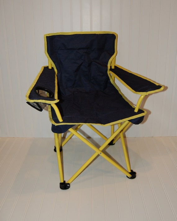 Personalized Toddler Boy Folding Camping Chair Navy Yellow