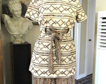 1960s Mini Dress/Two Piece Pantsuit Beige/Brown/Black  Double Knit Polyester with - Sz 14