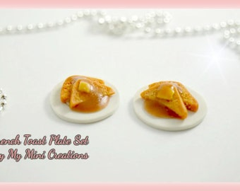 French Toast Plate, set of 2 plates, Polymer clay, Miniature Food, Miniature Food Jewelry, Dollhouse Food