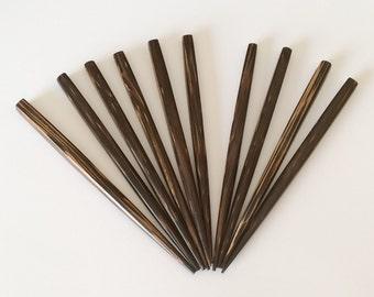 """Natural wood hair sticks shawl pins small 4 1/2"""", Old Palmwood square-10pc"""