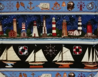 "Nautical Stripe Navy Sailboat Lighhouse 36"" Tablerunner"