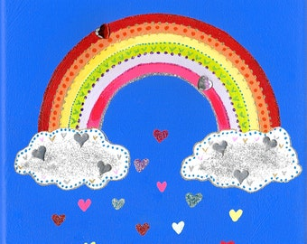 Rainbow Love Deep edged Canvas - Original Art 20 x 20cm