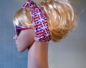 Union Jack hair scarf, union jack flag retro bandana,  union jack headband, union jack flag hair wrap